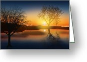 Twilight Greeting Cards - Dramatic Landscape Greeting Card by Setsiri Silapasuwanchai