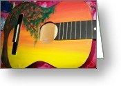 Sunset Sculpture Greeting Cards - Dreaming Tree Guitar Greeting Card by Laurette Escobar