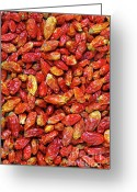 Indian Yellow Greeting Cards - Dried Chili Peppers Greeting Card by Carlos Caetano
