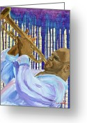Player Mixed Media Greeting Cards - Dripping Blues Greeting Card by Michael Lee