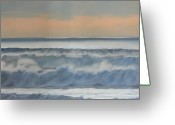 Waves Pastels Greeting Cards - Dusk at High Tide Greeting Card by Harvey Rogosin