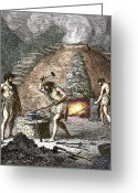 Humans Greeting Cards - Early Humans Smelting Iron Greeting Card by Sheila Terry