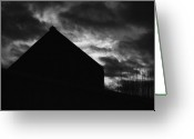Black And White Barn Greeting Cards - Early Morning Greeting Card by Peter Piatt