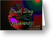 Our Planet Greeting Cards - Earth Day Awareness Greeting Card by Xueling Zou