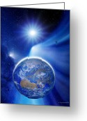 Reporting Greeting Cards - Earth In A Comets Tail Greeting Card by Detlev Van Ravenswaay