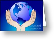 Responsibility Greeting Cards - Earth in the your hands Greeting Card by Michal Boubin