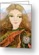 Protective Mother Greeting Cards - Earth Mother Greeting Card by Patricia Motley