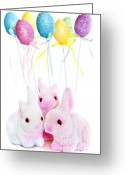 Balloons Greeting Cards - Easter bunny toys Greeting Card by Elena Elisseeva