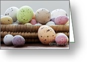 Selection Greeting Cards - Easter eggs in a wicker basket Greeting Card by Richard Thomas