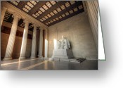 Lincoln Memorial Photo Greeting Cards - Echoes of Liberty Greeting Card by Mitch Cat