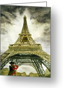 Watercolor By Irina Greeting Cards - Eiffel Tower Paris Greeting Card by Irina Sztukowski