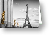 Yellow Line Digital Art Greeting Cards - Eiffel Tower PARIS Trocadero Greeting Card by Melanie Viola