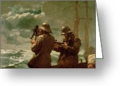 Waters Painting Greeting Cards - Eight Bells Greeting Card by Winslow Homer