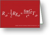 Text Greeting Cards - Einstein Theory of Relativity Greeting Card by Michael Tompsett