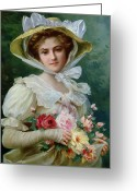 Roses Petals Greeting Cards - Elegant lady with a bouquet of roses Greeting Card by Emile Vernon