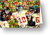 Eli Manning Greeting Cards - Eli Manning Greeting Card by Mike OBrien