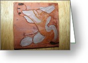 Uganda Pottery Ceramics Greeting Cards - Elise - tile Greeting Card by Gloria Ssali