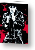 The King Greeting Cards - Elvis Greeting Card by Luis Ludzska