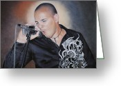 Photorealism Pastels Greeting Cards - Emilio Singing His Heart Out Greeting Card by Nanybel Salazar