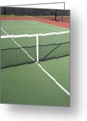 Overhead Greeting Cards - Empty Tennis Court Greeting Card by Thom Gourley/Flatbread Images, LLC