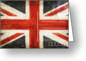 Backside Greeting Cards - England flag postcard Greeting Card by Setsiri Silapasuwanchai
