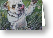 Yellow Greeting Cards - English Bulldog Greeting Card by Lee Ann Shepard