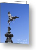 Eros Statue Greeting Cards - Eros statue in Piccadilly Circus in London Greeting Card by Stefano Baldini