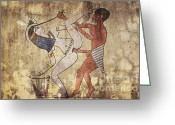 Ancient Art Greeting Cards - Erotic Drawing Looks Like Fresco Greeting Card by Michal Boubin