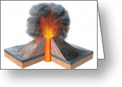 Spout Photo Greeting Cards - Erupting Cinder Cone, Artwork Greeting Card by Gary Hincks