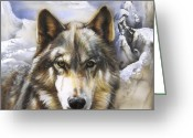 Wolves Mixed Media Greeting Cards - Eshelokee Greeting Card by J W Baker