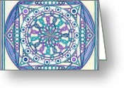 Expressive Drawings Greeting Cards - Eternity Mandala Greeting Card by Hakon Soreide