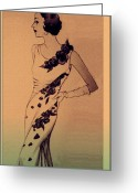 Evening Dress Mixed Media Greeting Cards - Evening Elegance Greeting Card by Susan  Epps Oliver