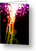 Surface Greeting Cards - Explosion Of Lights Greeting Card by Setsiri Silapasuwanchai