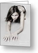 Flexibility Greeting Cards - Expressive Sexy Cat Woman Greeting Card by Oleksiy Maksymenko