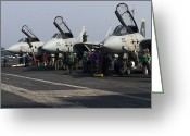 Fighter Jets Greeting Cards - F-14d Tomcats On The Flight Deck Of Uss Greeting Card by Gert Kromhout