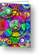 Clock Art Greeting Cards - Faces of Time 1 Greeting Card by Mike McGlothlen
