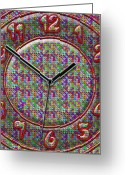 Clock Hands Greeting Cards - Faces of Time 2 Greeting Card by Mike McGlothlen
