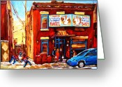 Hockey On The Streets Of Montreal Greeting Cards - Fairmount Bagel in Winter Greeting Card by Carole Spandau