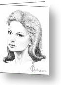 Famous People Drawings Greeting Cards - Faith Hill Greeting Card by Murphy Elliott