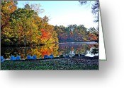 Fall Scenes Greeting Cards - Fall at the Lake Greeting Card by Larry Bishop