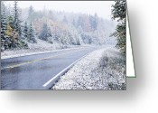 Winding Road Greeting Cards - Fall color and Snow along the Highland Scenic Highway Greeting Card by Thomas R Fletcher