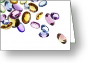 Treasure Jewelry Greeting Cards - Falling Gems Greeting Card by Setsiri Silapasuwanchai