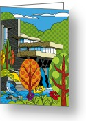 Lloyd Greeting Cards - Fallingwater Greeting Card by Ron Magnes