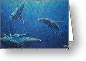 Whale Greeting Cards - Family Greeting Card by Nick Flavin