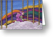 Colorful Sculpture Greeting Cards - Family Portrait Greeting Card by Anne Klar