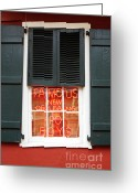Travelpixpro Greeting Cards - Famous New Orleans PO BOYS Red Neon Window Sign  Greeting Card by Shawn OBrien