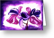 Purples Greeting Cards - Fantasy Flower l Greeting Card by Marsha Heiken