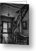 Linen Greeting Cards - Farmhouse Entry Hall and Stairs Greeting Card by Lynn Palmer