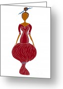 Girls Drawings Greeting Cards - Fashion Drawing Greeting Card by Frank Tschakert