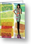 Alluring Greeting Cards - Fashion Illustration Greeting Card by Ramneek Narang